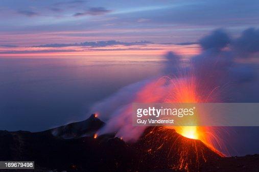 Eruption on Stromboli volcano at dusk