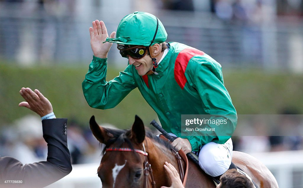 Ervedya ridden by <a gi-track='captionPersonalityLinkClicked' href=/galleries/search?phrase=Christophe+Soumillon&family=editorial&specificpeople=453308 ng-click='$event.stopPropagation()'>Christophe Soumillon</a> celebrates after winning the Coronation Stakes during Royal Ascot 2015 at Ascot racecourse on June 19, 2015 in Ascot, England.
