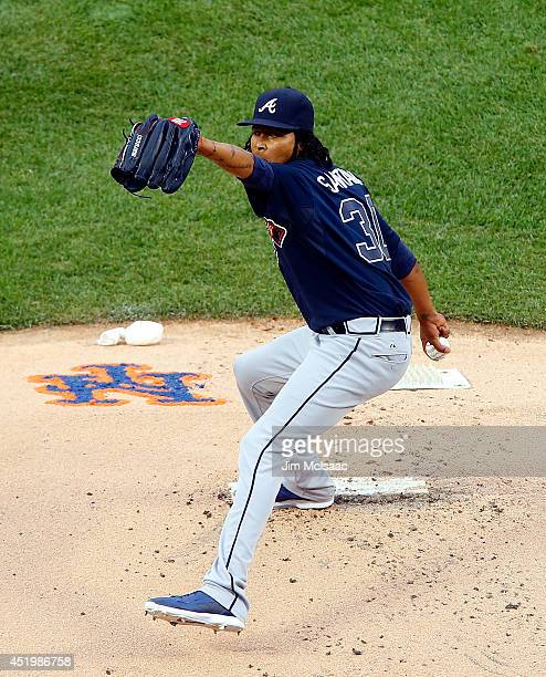 Ervin Santana of the Atlanta Braves in action against the New York Mets at Citi Field on July 9 2014 in the Flushing neighborhood of the Queens...