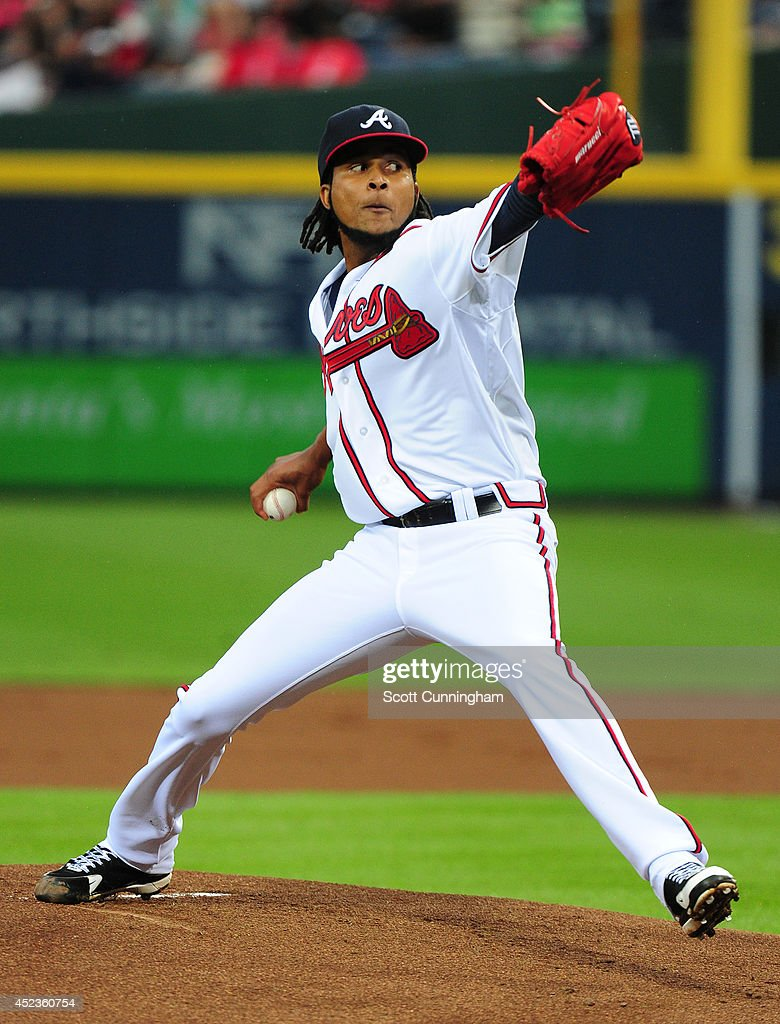 <a gi-track='captionPersonalityLinkClicked' href=/galleries/search?phrase=Ervin+Santana&family=editorial&specificpeople=243096 ng-click='$event.stopPropagation()'>Ervin Santana</a> #30 of the Atlanta Braves throws a first inning pitch against the Philadelphia Phillies at Turner Field on July 18, 2014 in Atlanta, Georgia.