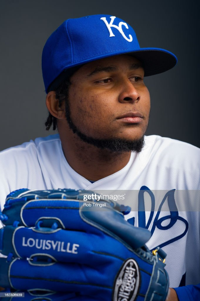<a gi-track='captionPersonalityLinkClicked' href=/galleries/search?phrase=Ervin+Santana&family=editorial&specificpeople=243096 ng-click='$event.stopPropagation()'>Ervin Santana</a> #54 of the Kansas City Royals poses for a portrait on photo day at the Surprise Sports Complex on February 21, 2013 in Surprise, Arizona.