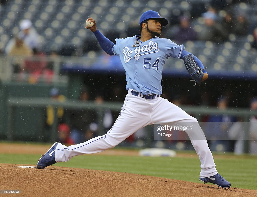<a gi-track='captionPersonalityLinkClicked' href=/galleries/search?phrase=Ervin+Santana&family=editorial&specificpeople=243096 ng-click='$event.stopPropagation()'>Ervin Santana</a> #54 of the Kansas City Royals throws against the Tampa Bay Rays in the first inning at Kauffman Stadium on May 2, 2013 in Kansas City, Missouri.