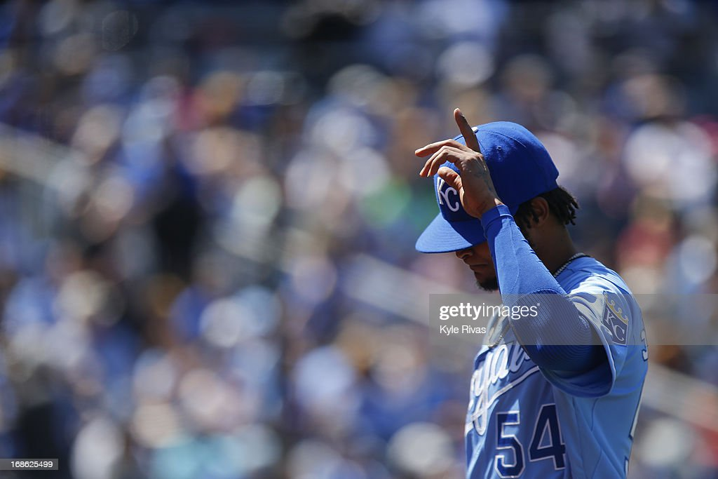 <a gi-track='captionPersonalityLinkClicked' href=/galleries/search?phrase=Ervin+Santana&family=editorial&specificpeople=243096 ng-click='$event.stopPropagation()'>Ervin Santana</a> #54 of the Kansas City Royals walks off the field after being relieved by Tim Collins #55 in the fifth inning during the game against the New York Yankees on May 12, 2013 at Kauffman Stadium in Kansas City, Missouri.