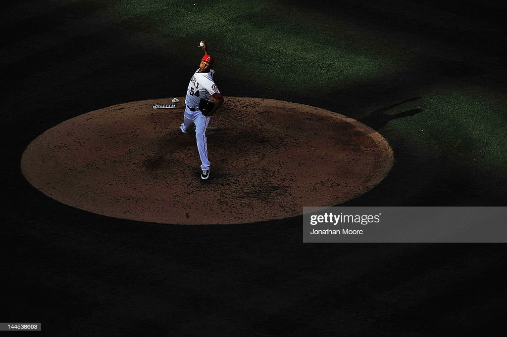 <a gi-track='captionPersonalityLinkClicked' href=/galleries/search?phrase=Ervin+Santana&family=editorial&specificpeople=243096 ng-click='$event.stopPropagation()'>Ervin Santana</a> #54 of the Los Angeles Angels of Anaheim pitches against the Oakland Athletics in the sixth inning at Angel Stadium of Anaheim on May 15, 2012 in Anaheim, California.