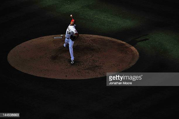 Ervin Santana of the Los Angeles Angels of Anaheim pitches against the Oakland Athletics in the sixth inning at Angel Stadium of Anaheim on May 15...