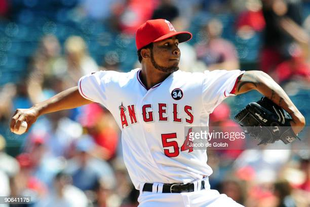 Ervin Santana of the Los Angeles Angels of Anaheim pitches against the Chicago White Sox at Angel Stadium on September 12 2009 in Anaheim California