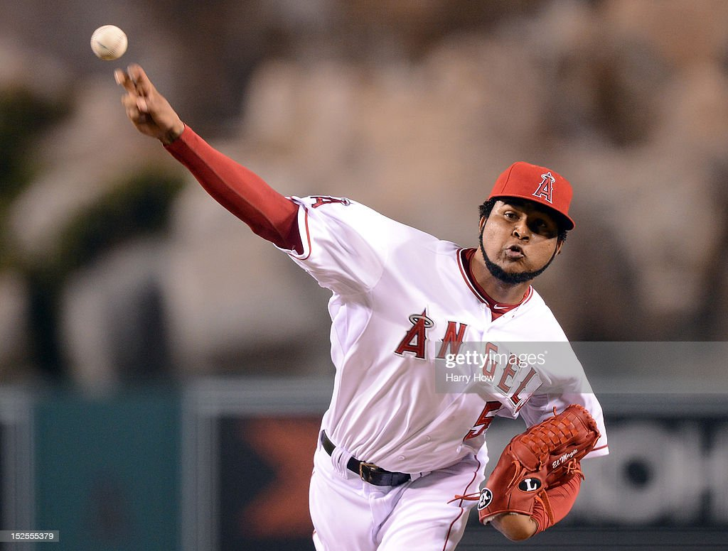 <a gi-track='captionPersonalityLinkClicked' href=/galleries/search?phrase=Ervin+Santana&family=editorial&specificpeople=243096 ng-click='$event.stopPropagation()'>Ervin Santana</a> #54 of the Los Angeles Angels pitches against the Chicago White Sox at Angel Stadium of Anaheim on September 21, 2012 in Anaheim, California.
