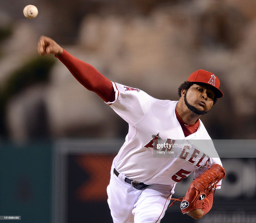 Ervin Santana #54 of the Los Angeles Angels pitches against the Oakland Athletics during the first inning at Angel Stadium of Anaheim on September 12, 2012 in Anaheim, California.