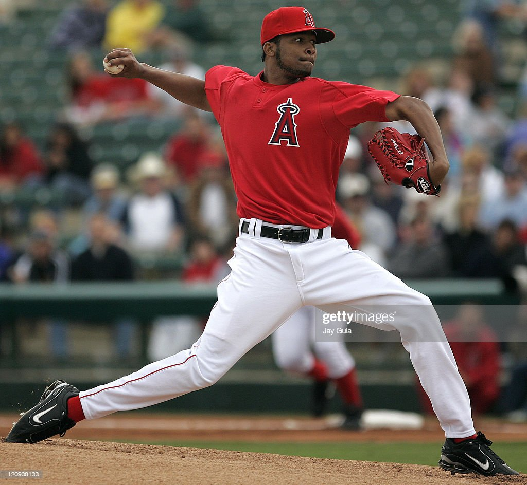 <a gi-track='captionPersonalityLinkClicked' href=/galleries/search?phrase=Ervin+Santana&family=editorial&specificpeople=243096 ng-click='$event.stopPropagation()'>Ervin Santana</a> of the Los Angeles Angels started todays game against the World Champion Chicago White Sox in Tempe, Arizona. March 8, 2006