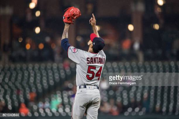 Ervin Santana of the Minnesota Twins celebrates his complete game shutout against the Baltimore Orioles on May 23 2017 at Oriole Park at Camden Yards...