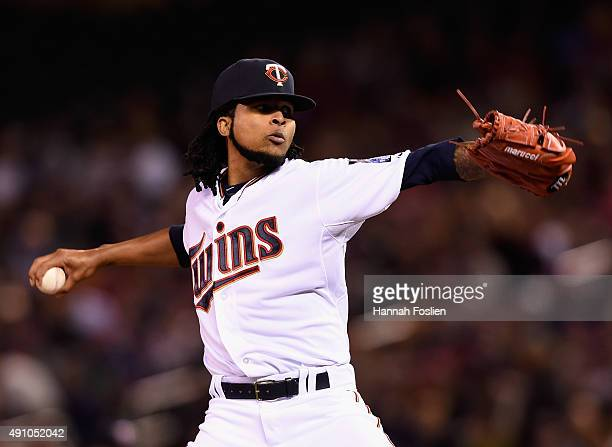 Ervin Santana of the Minnesota Twins delivers a pitch against the Kansas City Royals during the first inning of the game on October 2 2015 at Target...