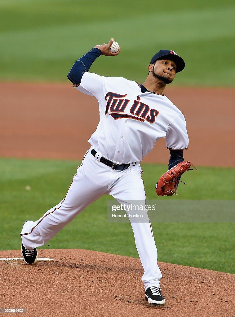 Ervin Santana #54 of the Minnesota Twins delivers a pitch against the Toronto Blue Jays during the first inning of the game on May 19, 2016 at Target Field in Minneapolis, Minnesota.