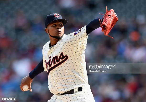 Ervin Santana of the Minnesota Twins delivers a pitch against the Chicago White Sox during the ninth inning of the game on April 15 2017 at Target...