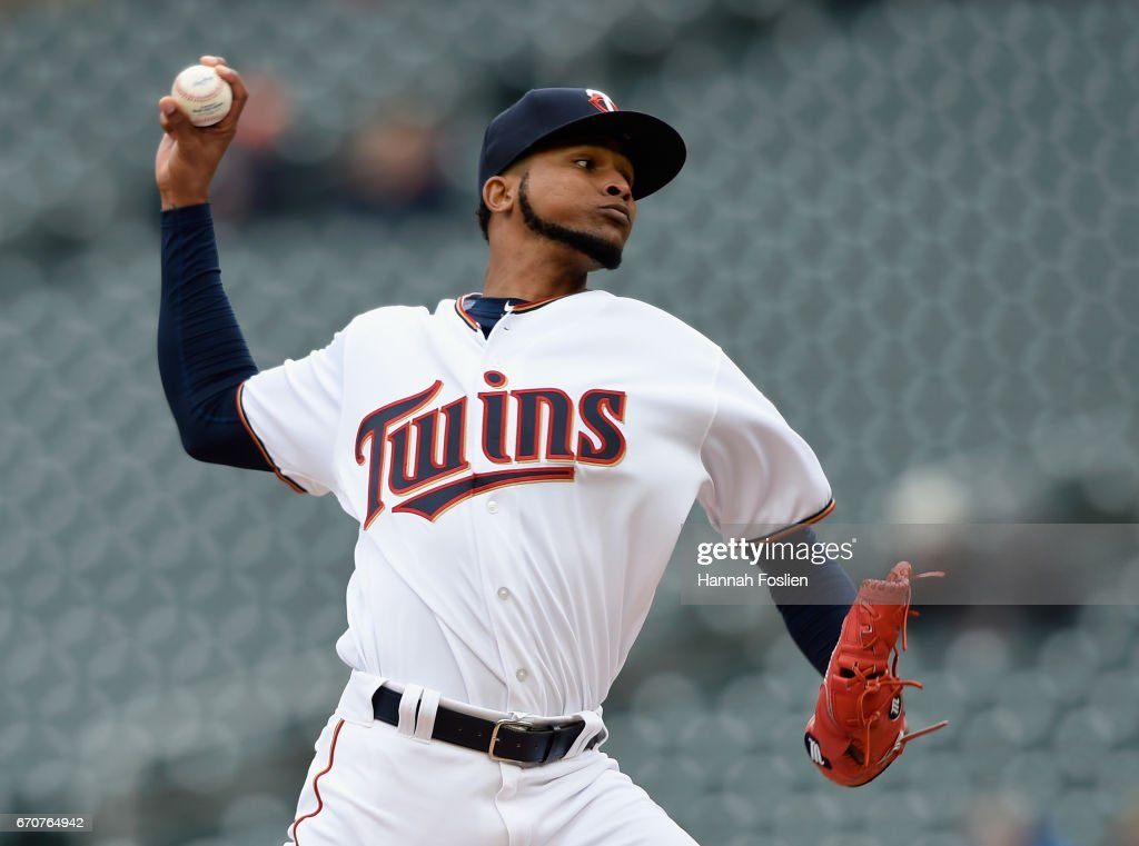 Ervin Santana #54 of the Minnesota Twins delivers a pitch against the Cleveland Indians during the first inning of the game on April 20, 2017 at Target Field in Minneapolis, Minnesota.