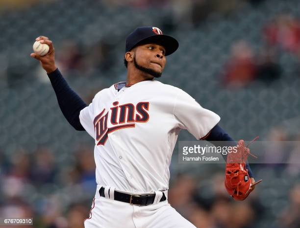 Ervin Santana of the Minnesota Twins delivers a pitch against the Oakland Athletics during the first inning of the game on May 2 2017 at Target Field...