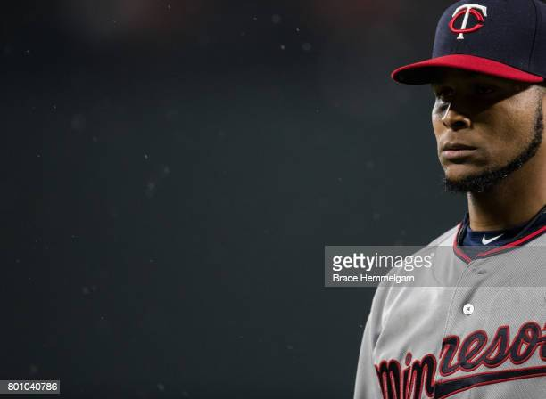 Ervin Santana of the Minnesota Twins looks on against the Baltimore Orioles on May 23 2017 at Oriole Park at Camden Yards in Baltimore Maryland The...