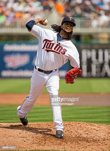 Ervin Santana of the Minnesota Twins pitches against the Baltimore Orioles on March 8 2015 at the CenturyLink Sports Complex in Fort Myers Florida