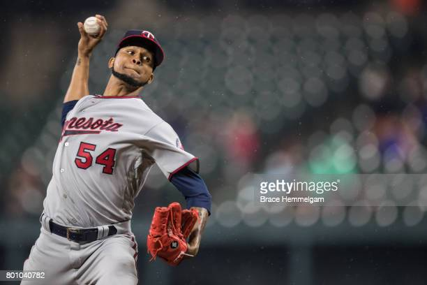 Ervin Santana of the Minnesota Twins pitches against the Baltimore Orioles on May 23 2017 at Oriole Park at Camden Yards in Baltimore Maryland The...