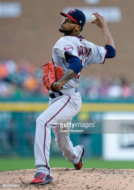 Ervin Santana of the Minnesota Twins pitches against the Detroit Tigers during the third inning at Comerica Park on September 23 2017 in Detroit...