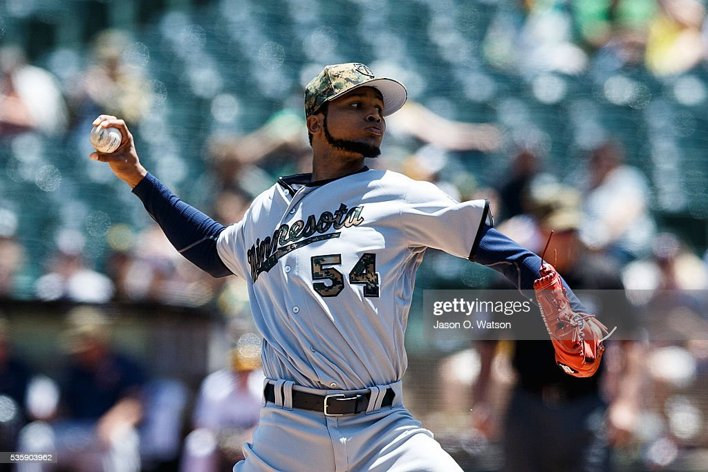 <a gi-track='captionPersonalityLinkClicked' href=/galleries/search?phrase=Ervin+Santana&family=editorial&specificpeople=243096 ng-click='$event.stopPropagation()'>Ervin Santana</a> #54 of the Minnesota Twins pitches against the Oakland Athletics during the first inning at the Oakland Coliseum on May 30, 2016 in Oakland, California.