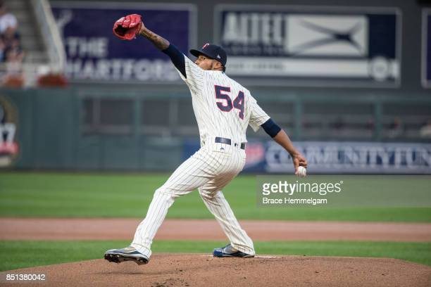 Ervin Santana of the Minnesota Twins pitches against the San Diego Padres on September 13 2017 at Target Field in Minneapolis Minnesota The Twins...