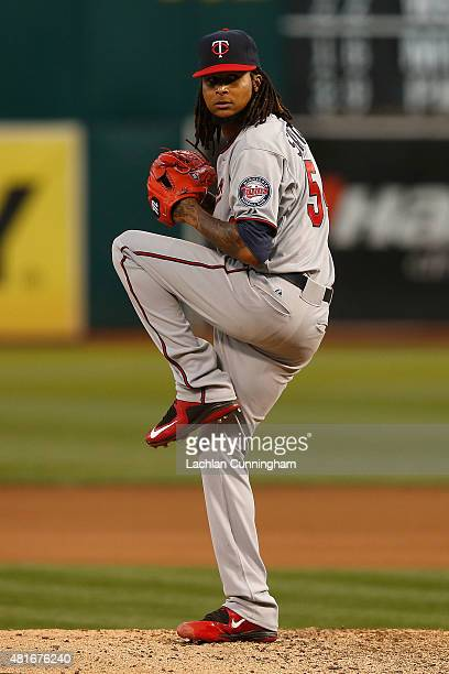 Ervin Santana of the Minnesota Twins pitches in the fifth inning against the Oakland Athletics at Oco Coliseum on July 17 2015 in Oakland California