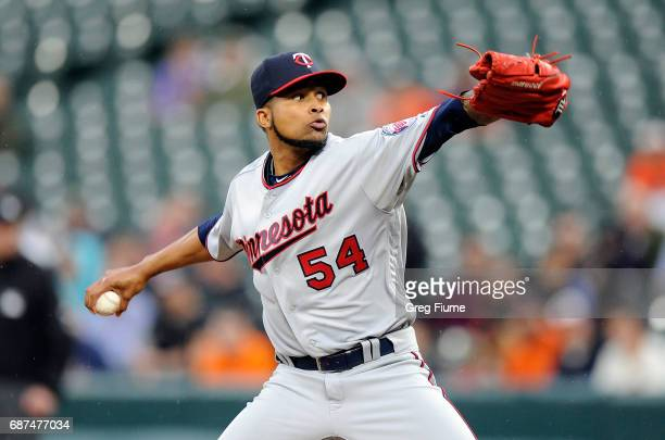 Ervin Santana of the Minnesota Twins pitches in the first inning against the Baltimore Orioles at Oriole Park at Camden Yards on May 23 2017 in...