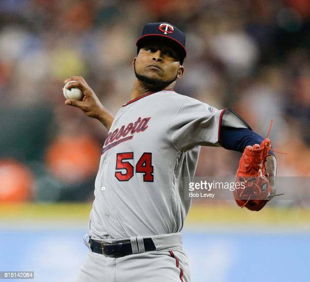 Ervin Santana of the Minnesota Twins pitches in the first inning against the Houston Astros at Minute Maid Park on July 15 2017 in Houston Texas