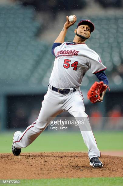 Ervin Santana of the Minnesota Twins pitches in the second inning against the Baltimore Orioles at Oriole Park at Camden Yards on May 23 2017 in...