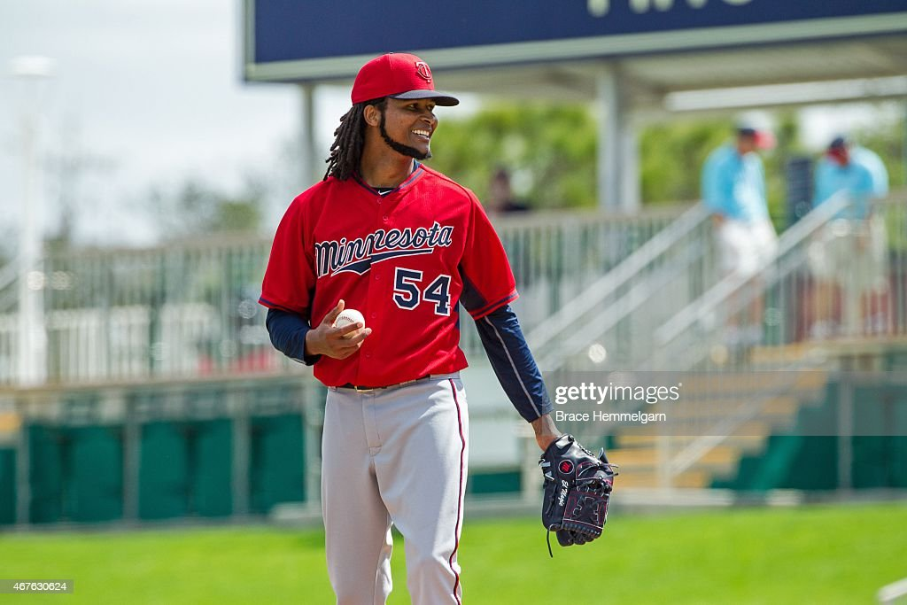 Ervin Santana #54 of the Minnesota Twins smiles on March 1, 2015 at the CenturyLink Sports Complex in Fort Myers, Florida.