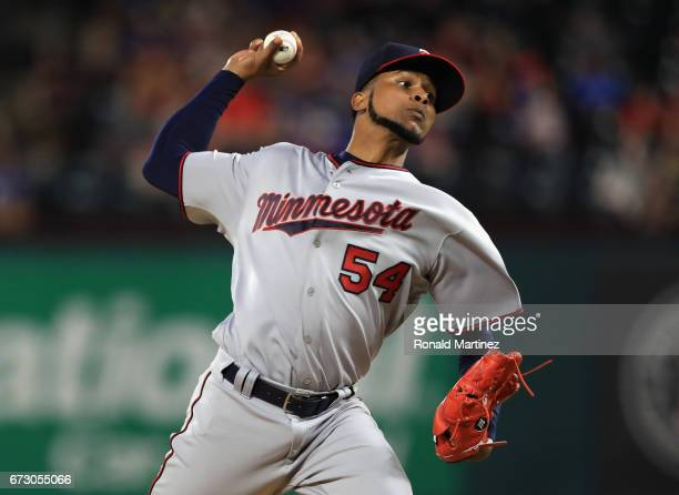 Ervin Santana of the Minnesota Twins throws against the Texas Rangers in the sixth inning at Globe Life Park in Arlington on April 25 2017 in...