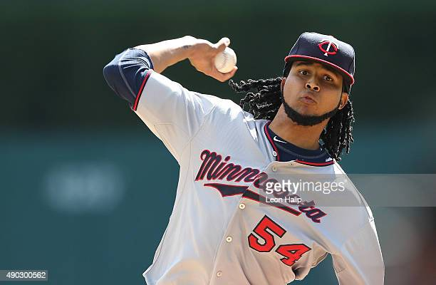 Ervin Santana of the Minnesota Twins warms up prior to the start of the game against the Detroit Tigers on September 27 2015 at Comerica Park in...