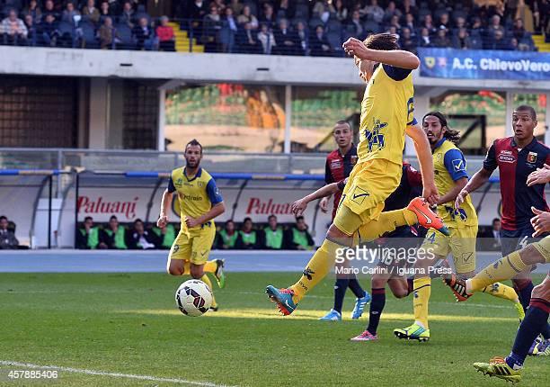 Ervin Zukanovic of AC Chievo Verona scores the opening goal during the Serie A match between AC Chievo Verona and Genoa CFC at Stadio Marc'Antonio...