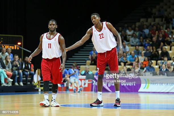 Erving Walker and Franck Ntilikina of Strasbourg during the Final match between Strasbourg and Gravelines Dunkerque at Tournament ProStars at Salle...