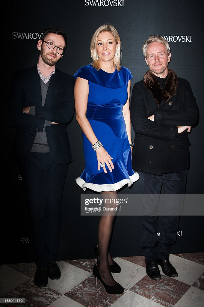 Erwan Bouroullec, Nadja Swarovski and Ronan Bouroullec attend the Swarovski Dinner In Honor of the Bouroullec Brothers at Chateau de Versailles on November 14, 2013 in Versailles, France.