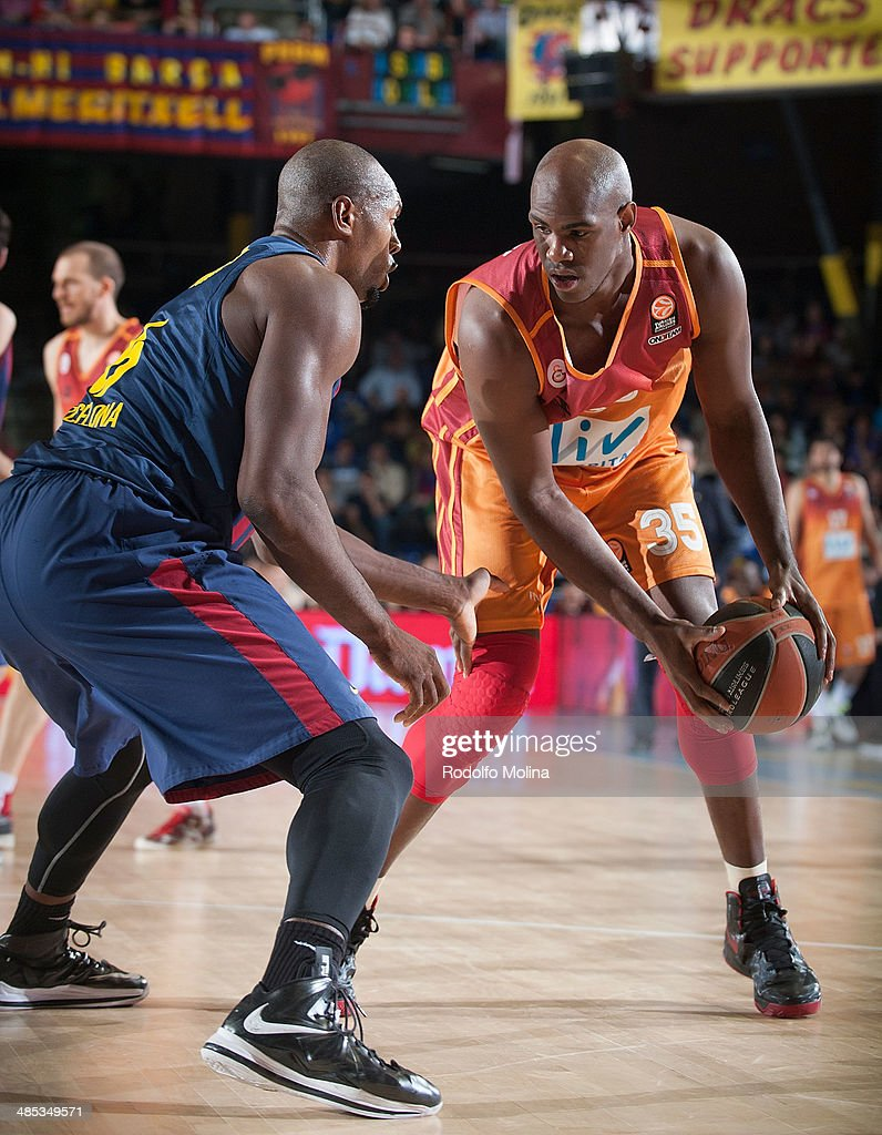 Erwin Dudley, #35 of Galatasaray Liv Hospital Istanbul in action during the Turkish Airlines Euroleague Basketball Play Off Game 2 between FC Barcelona Regal v Galatasaray Liv Hospital Istanbul at Palau Blaugrana on April 17, 2014 in Barcelona, Spain.