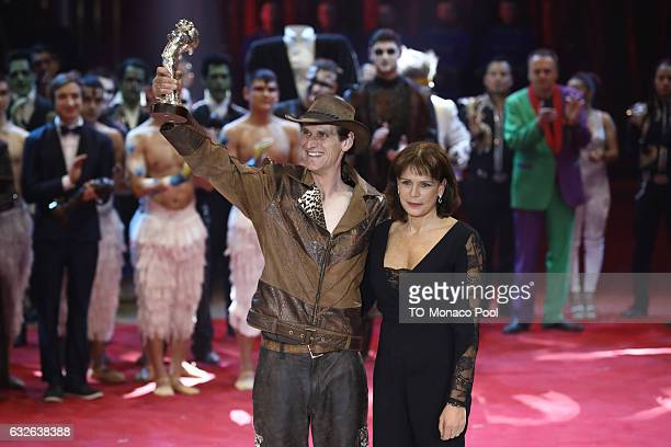Erwin Frankello receives the Gold Clown by Princess Stephanie of Monaco during the awards ceremony at the 41st MonteCarlo International Circus...