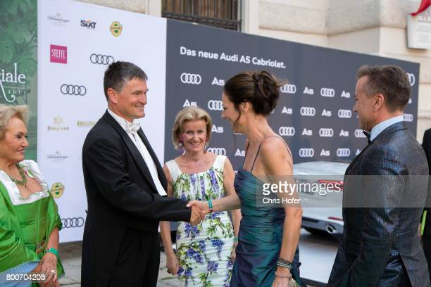 Erwin Klissenbauer and Elisabeth Guertler welcoming all guests during the Fete Imperiale 2017 on June 23 2017 in Vienna Austria