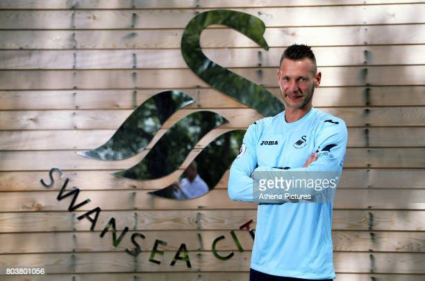 Erwin Mulder holds poses for a picture at the Swansea City Training at The Fairwood Training Ground on June 19 2017 in Swansea Wales