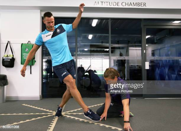 Erwin Mulder is being tested at the Swansea City Training at The Fairwood Training Ground on June 19 2017 in Swansea Wales