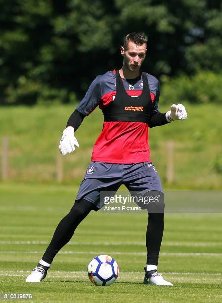 Erwin Mulder passes the ball during the Swansea City Training at The Fairwood Training Ground on July 5 2017 in Swansea Wales