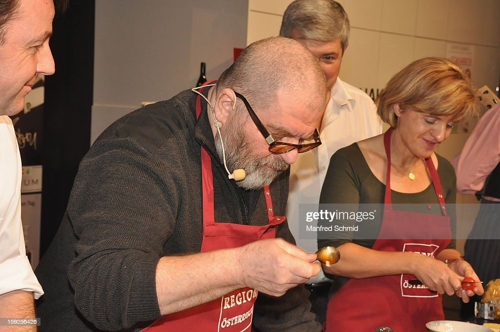 Erwin Steinhauer (L) and Margareta Reichsthaler (R) attend the cooking duel on the 3rd Cook & Look fair, a part of Vienna Holiday Fair, on January 10, 2013 in Vienna, Austria.