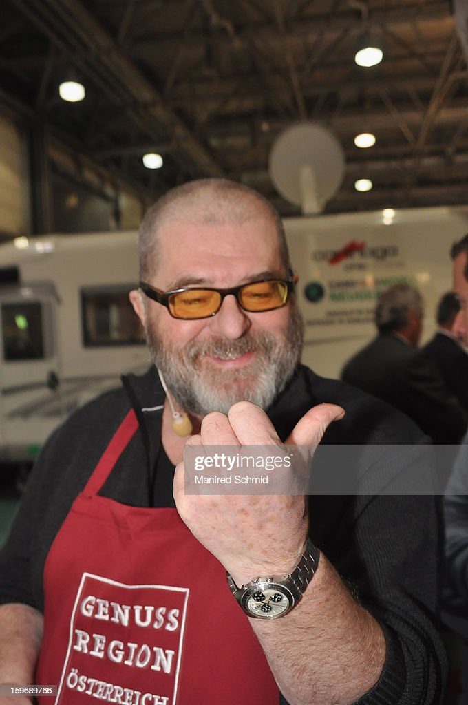 Erwin Steinhauer cuts his finger during the 3rd Cook & Look fair, a part of Vienna Holiday Fair, on January 10, 2013 in Vienna, Austria.