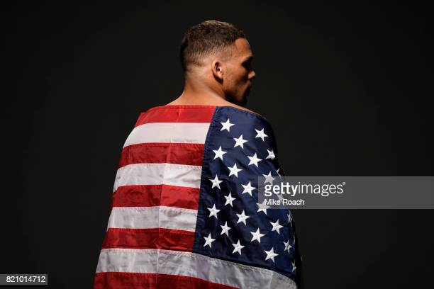 Eryk Anders poses for a post fight portrait backstage during the UFC Fight Night event inside the Nassau Veterans Memorial Coliseum on July 22 2017...