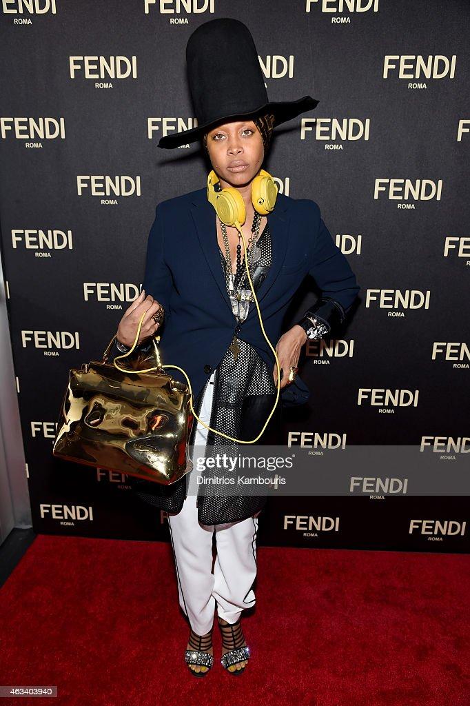 Erykah Badu aka DJ Lo Down Loretta Brown attends FENDI celebrates the opening of the New York flagship store on February 13 2015 in New York City