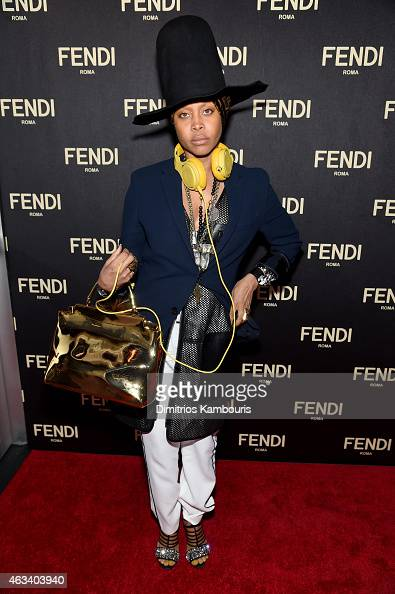 Erykah Badu aka DJ Lo Down Loretta Brown attends FENDI celebrates the opening of the New York flagship store on February 13 2015 in New York City