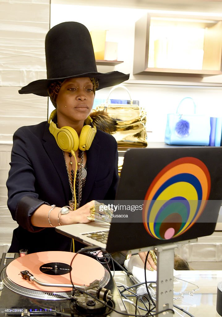 Erykah Badu aka DJ Lo Down Loretta Brown spins at FENDI celebrates the opening of the New York flagship store on February 13 2015 in New York City