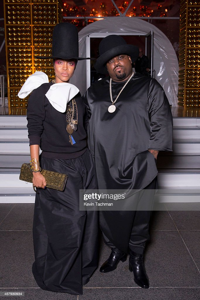 Erykah Badu and Cee Lo Green attend the TWO x TWO For AIDS And Art 2014 Gala and Auction on October 25 2014 in Dallas Texas