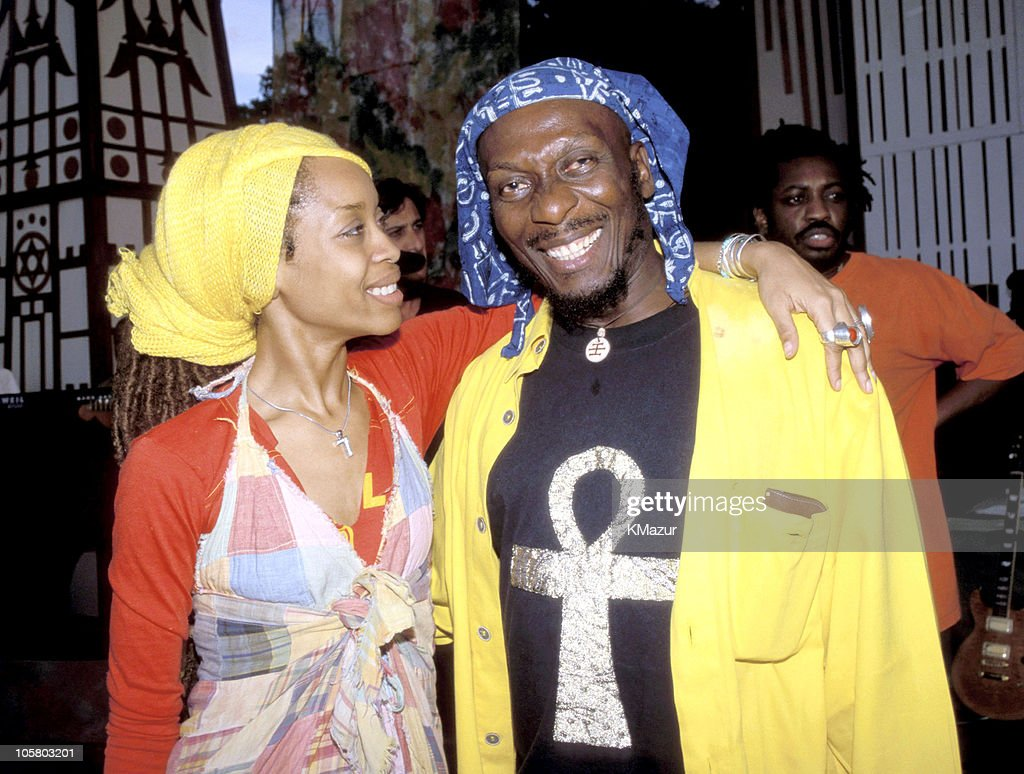 Erykah Badu and Jimmy Cliff during TNT Bob Marley All Star Tribute at James Bond Beach in Oracabeca Beach, Jamaica, Jamaica.