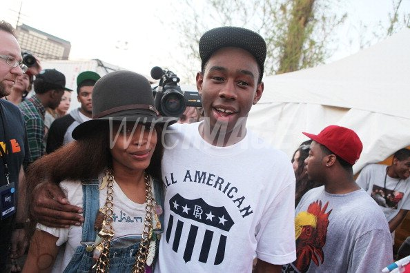 03a6ada691c9 Erykah Badu and Tyler the Creator of Odd Future backstage at Fader ...